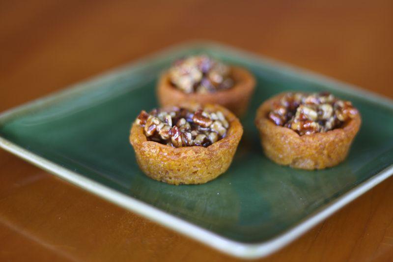 Mini pumpkin pies with sticky pecans