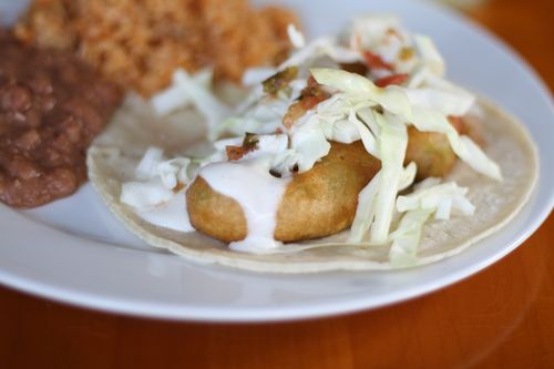 Fried avocado taco