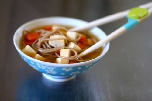 Carrot ginger soba noodle soup