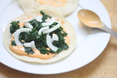 Kale and onion quesadilla